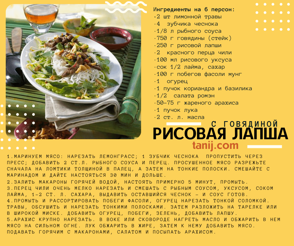 рецепт рисовая лапша с говядиной, побегами фасоли мунг, огурцом, кориандром, жареным арахисом и лаймом
