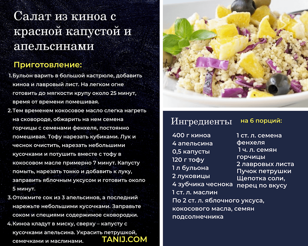 Полезный рецепт салата из киноа со свежей красной капустой и апельсинами оказывает лечебное действие на организм и дает нам множество витаминов.